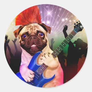 Rock dog - pug party - pug guitar - dog rocker classic round sticker