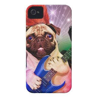 Rock dog - pug party - pug guitar - dog rocker iPhone 4 Case-Mate cases