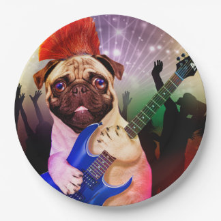 Rock dog - pug party - pug guitar - dog rocker paper plate