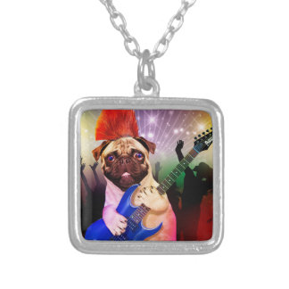 Rock dog - pug party - pug guitar - dog rocker silver plated necklace