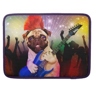 Rock dog - pug party - pug guitar - dog rocker sleeve for MacBook pro