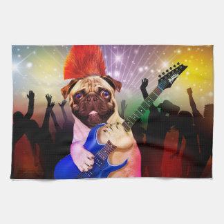 Rock dog - pug party - pug guitar - dog rocker tea towel