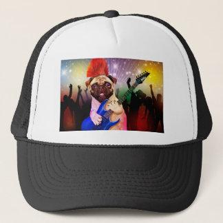 Rock dog - pug party - pug guitar - dog rocker trucker hat