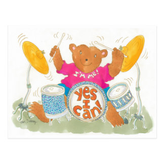 """rock drummer bear believes """"YES I CAN!"""" Post Card"""