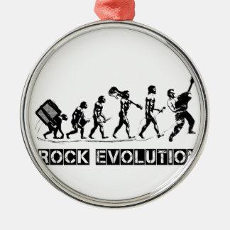 Rock Evolution funny design Silver-Colored Round Decoration