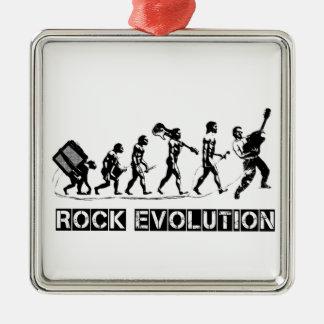 Rock Evolution funny design Silver-Colored Square Decoration
