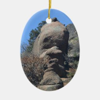 Rock Face Ceramic Oval Decoration