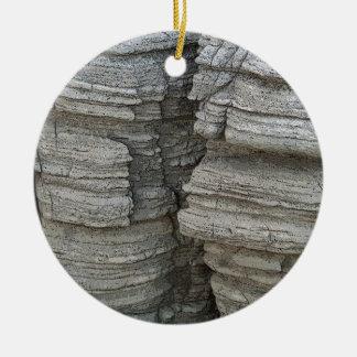 Rock Face Round Ceramic Decoration