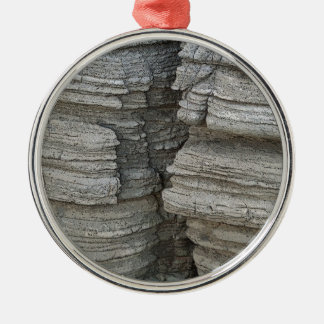 Rock Face Silver-Colored Round Decoration