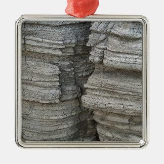 Rock Face Silver-Colored Square Decoration