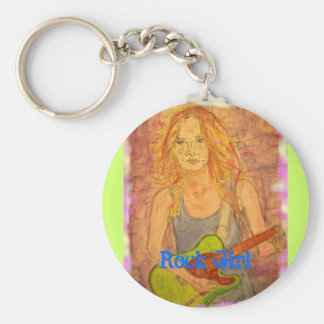 Rock Girl Basic Round Button Key Ring