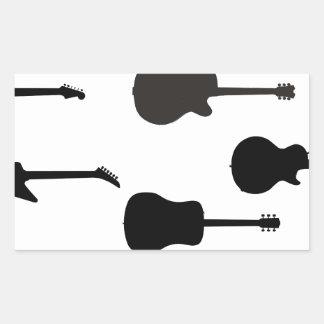 Rock Guitar Silhouettes Rectangular Sticker
