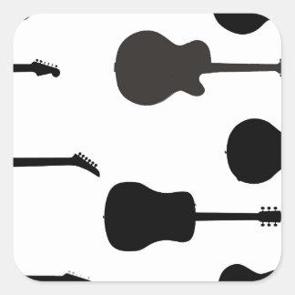 Rock Guitar Silhouettes Square Sticker