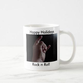 ROCK HAND, Rock n Roll, Happy Holidays Basic White Mug