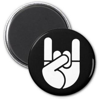 Rock Hand Stencil 6 Cm Round Magnet