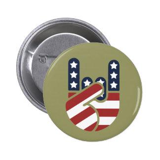 Rock Hand USA Pinback Buttons