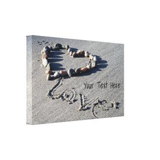 Rock Heart on the Beach Canvas Wrap