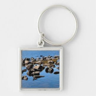 Rock in water Silver-Colored square key ring