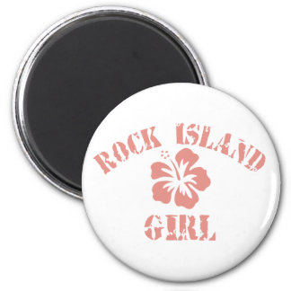 Rock Island Pink Girl 2 Inch Round Magnet