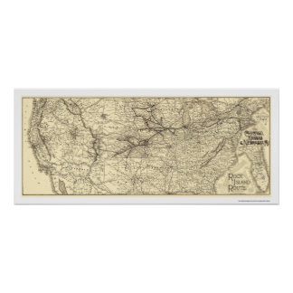 Rock Island Railroad Map 1888 Poster