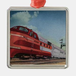 Rock Island RocketStreamlined Train Metal Ornament