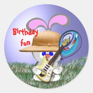 Rock n Birthday Fun Round Sticker