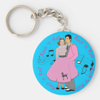 Rock ' n Roll Basic Round Button Key Ring