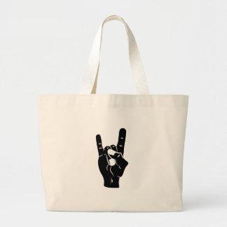 Rock n Roll Devil Horns Large Tote Bag