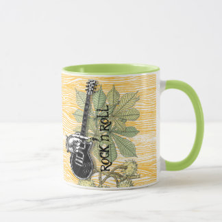 Rock n Roll Guitar Barnwood Typography Retro Hand Mug