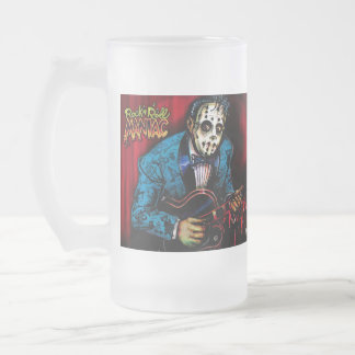 Rock n Roll Maniac Rockabilly Frosted Glass Beer Mug