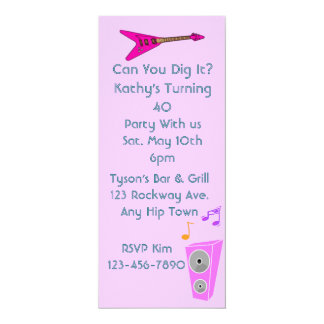 "Rock n' Roll Party Invites 4"" X 9.25"" Invitation Card"