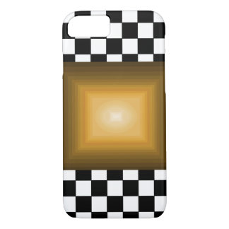 Rock n Roll Retro Gold Hipster B/W Checkerboard iPhone 7 Case
