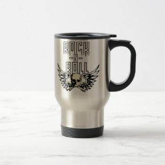 Rock n Roll Skull With Wings Travel Mug