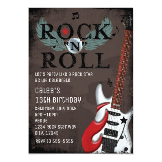 Rock N Roll Star Grunge Birthday Party Invitations