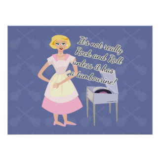 Rock n Roll Tambourine 50 s Housewife Poster