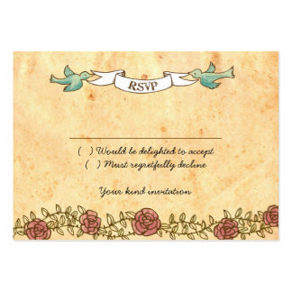 Rock 'n' Roll Wedding (Roses) RSVP Card Business Card Templates