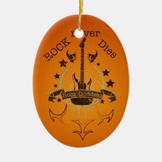 Rock Never Dies (black) - For Music Fans Ceramic Ornament