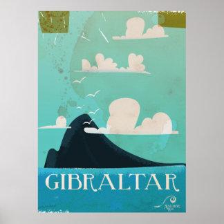 Rock of Gibraltar vintage travel poster