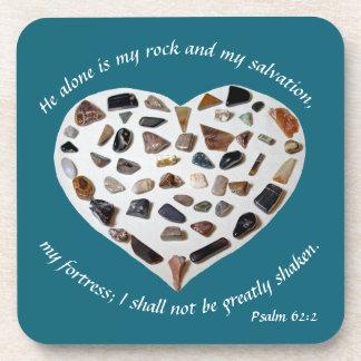 Rock of My Salvation Bible Verse Teal Coasters