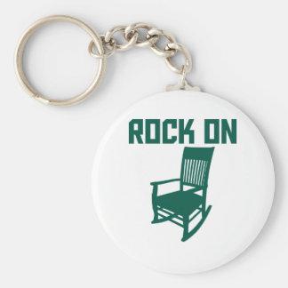 Rock On Basic Round Button Key Ring