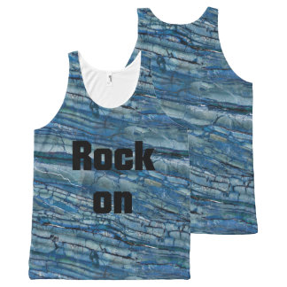 Rock On Blue & Gray Marble Stone All-Over Print Singlet