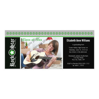 Rock on! Customized Graduation Announcement: green 10 Cm X 24 Cm Invitation Card