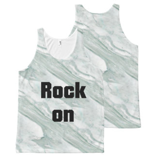 Rock On Gray & White Marble Stone All-Over Print Singlet
