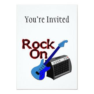 Rock On Guitar & Amp 13 Cm X 18 Cm Invitation Card