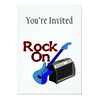 Rock On Guitar & Amp 5x7 Paper Invitation Card