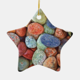 Rock On Multicolored Rocks Ceramic Ornament