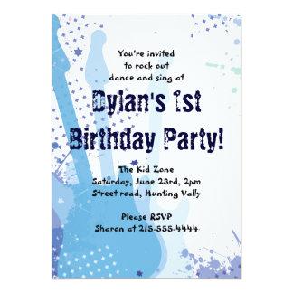 Rock On Musical Happy Birthday Party Invitation