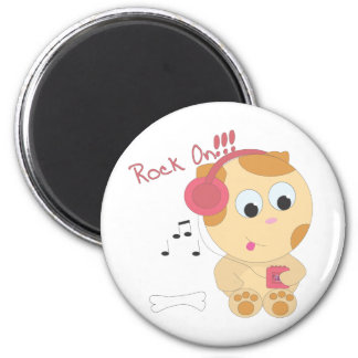 Rock on pup 6 cm round magnet