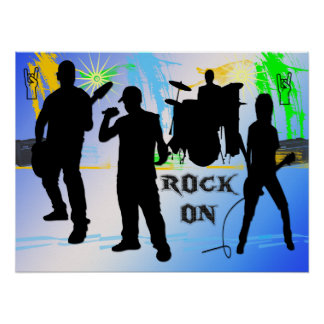 Rock On - Rock n' Roll Band 24x18 Poster