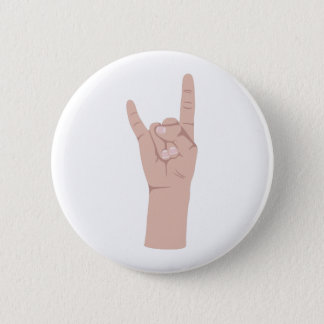 Rock On Sign 6 Cm Round Badge